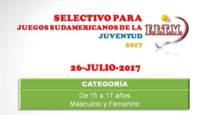 AFICHE SELECTIVO JUEGOS SUDAM. DE LA JUVENTUD 2017